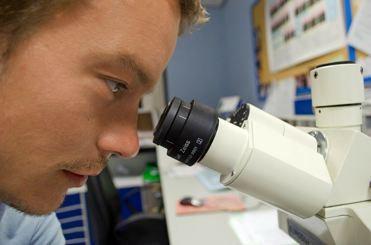 people, scientist, microscope
